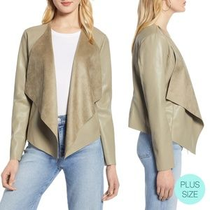 Halogen Drape Faux Leather High Low Jacket